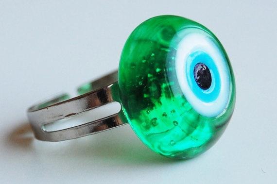 Evil Eye Lampwork Handmade Adjustable Size Ring by TheGrandBazaar, $5.00