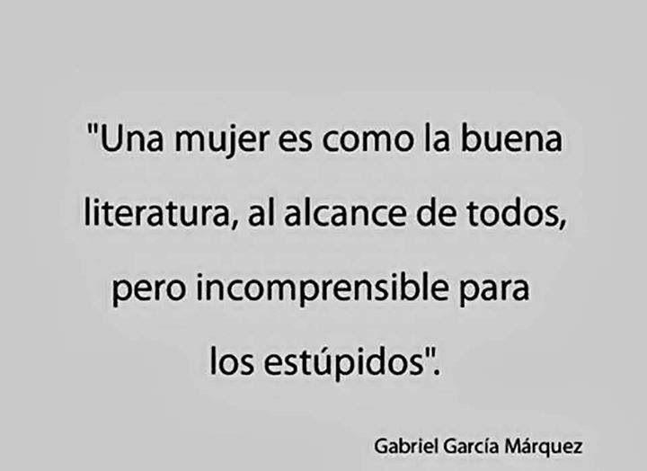 Una Mujer Es Como La Buena Literatura, Al Alcance De Todos, Pero Incomprensible Para Los Estúpidos
