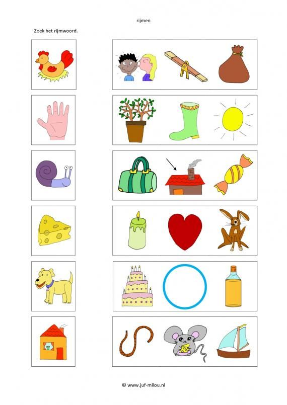 Dit werkblad en nog veel meer in de categorie taal - rijmwerkbladen kun je downloaden op de website van Juf Milou.