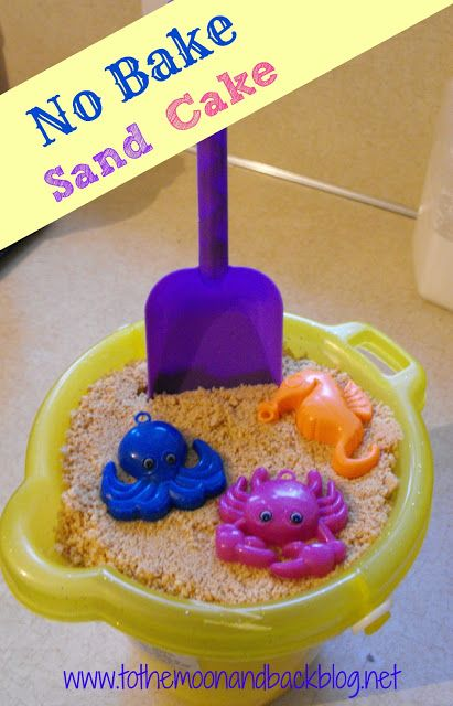 Come check out our awesome play space, toy library, and birthday party venue at www.toybraryaustin.com!  Here's the recipe: http://tothemoonandbackblog.net/2013/07/no-bake-sand-cake.html