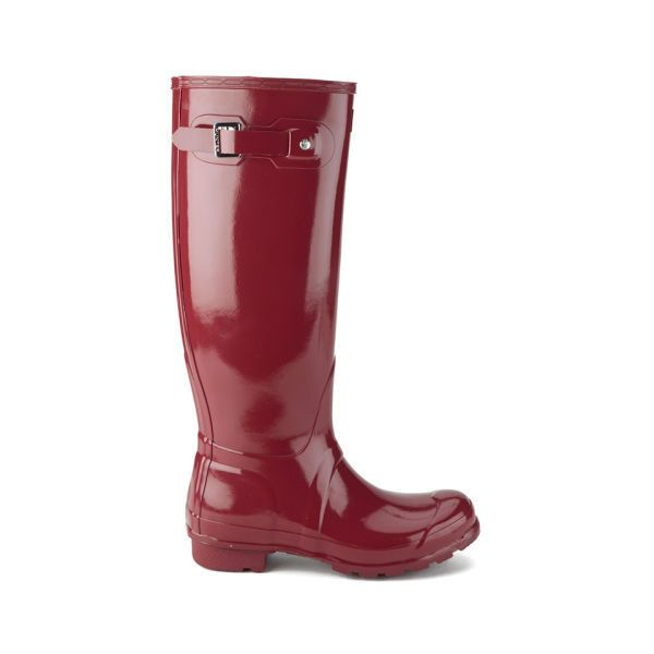 Hunter Women's Original Tall Gloss Wellies - Damson ($125) ❤ liked on Polyvore featuring shoes, boots, red, knee high rain boots, rubber boots, tall knee high boots, knee high boots and knee high rubber boots