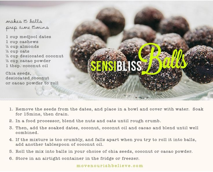 chocolate bliss balls http://www.movenourishbelieve.com/nourish/your-go-to-guide-to-healthy-snacking-6-smart-snack-ideas/?utm_source=facebook_medium=social_campaign=article_content=smart%20snacks