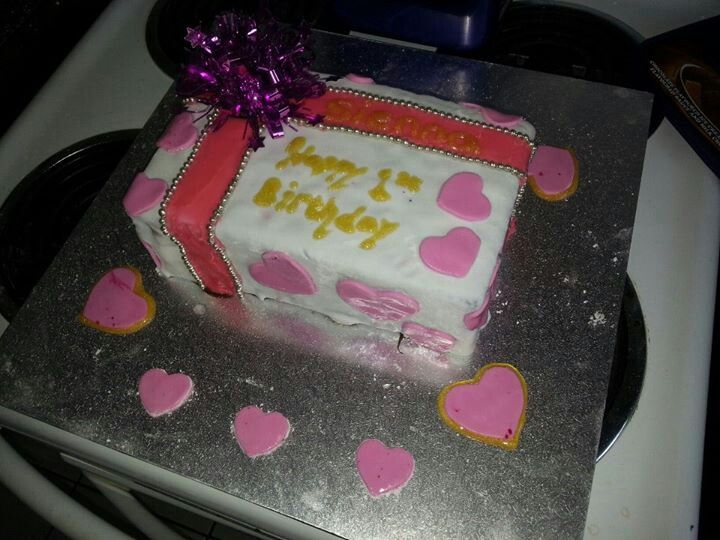 A present box cake, made by me for my daughter