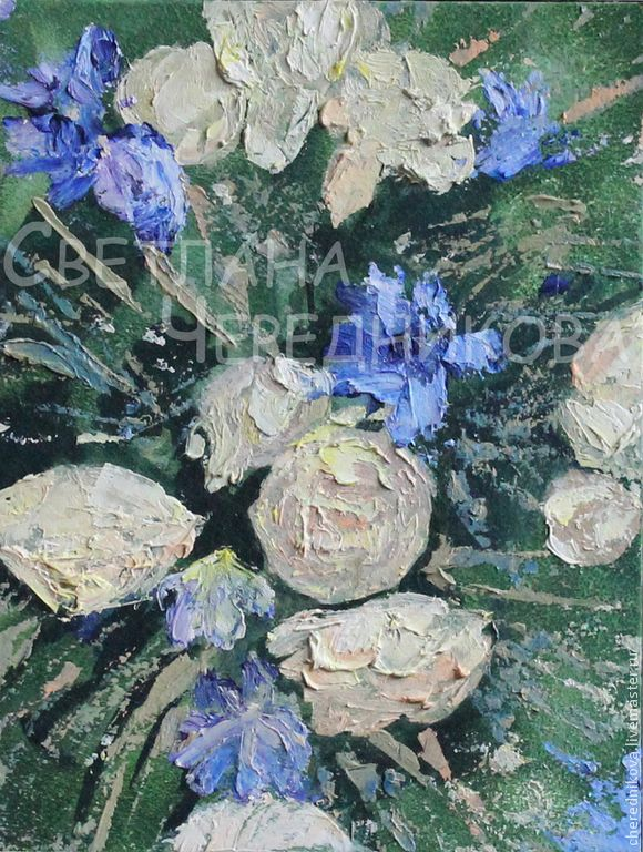 Букет - тёмно-зелёный,синий,розовый,букет,Живопись,живопись маслом,цветы