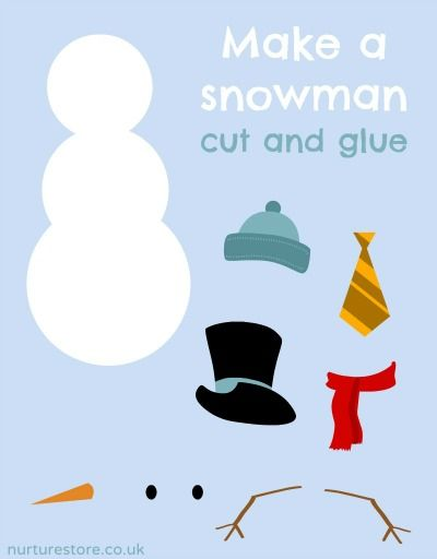 Free Snowman Printables (which can be used for a variety of activities) from NurtureStore Great dress the snowman for toddlers to learn with, fine motor, and for the bigger kids dress the snowman just do one part at a time and see who gets closest or dress him and just do pin the nose on the snowman