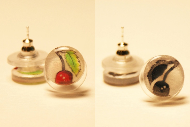 Small Cherry Pair of Stud Earrings. $10.00, via Etsy.