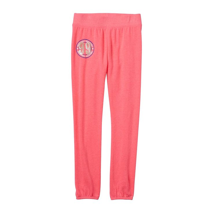 Girls 7-16 & Plus Size SO® French Terry Graphic Jogger Pants, Size: 20 1/2, Brt Pink