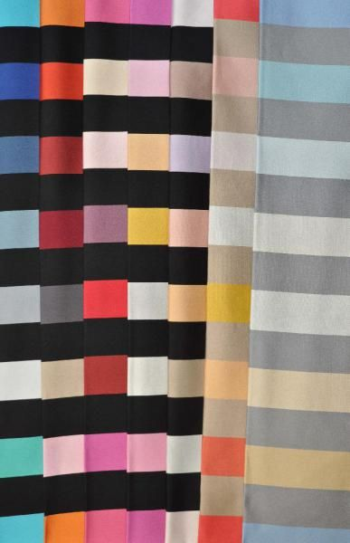 Rue Du -  Dragon The signature stripe becomes indiscrete with bold wide bands in elegant colours. A new palette of colours and neutrals replaces black. Traditional contrast which builds on the Collection No 1 fabrics. Woven satin in 7 colours.
