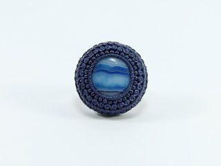Biesge Creative Collection: Mavi Çizgili Akik Vintage Yüzük