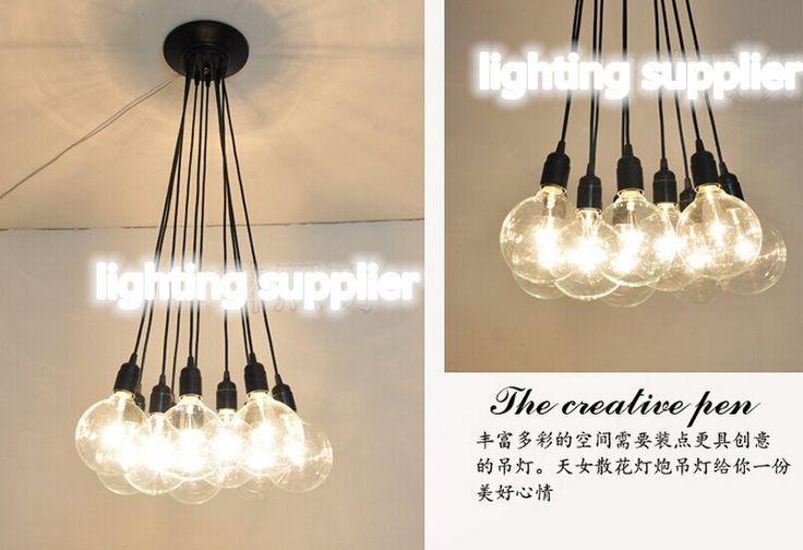 Groothandel Vintage klassieke lamp e27 lamphouder socket met koord diy verlichting lampen hanglamp lijn met 6 en 10 heads licht