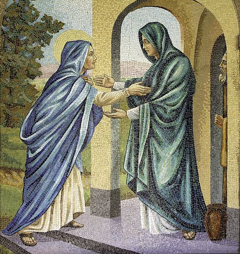 """Our Lady's Visitation // """" Why should I be honoured with a visit from the mother of my Lord? """" Luke 1:39-56 // Mosaic  from the Rosary Cloister of the Franciscan Monastery, Washington DC. // #Magnificat #Gospel #VirginMary #ArkoftheCovenant #SaintElizabeth #Zechariah #MotherOfGod"""