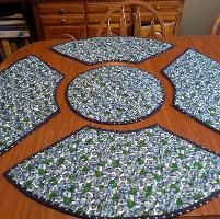Quilting : Blue Berries Round Place Mats
