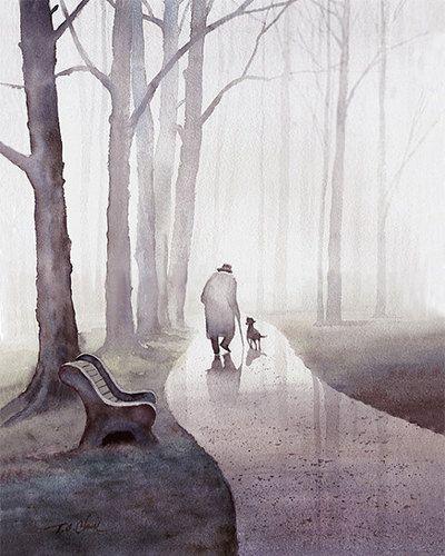 Walk In The Park Art zu drucken Aquarell Alter von PineBrookStudio