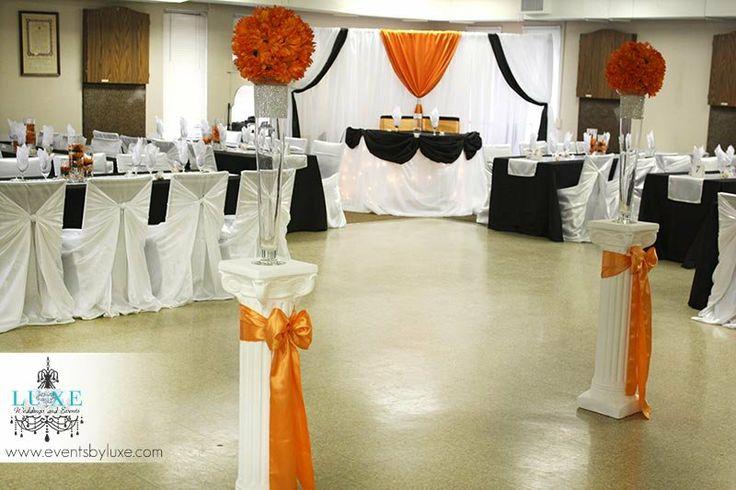 Orange Black And White Wedding Backdrop Head Table Decor Ceremony