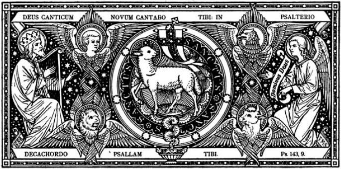 The Lamb of God, King David, the 4 Evangelist's Symbols and an Angel