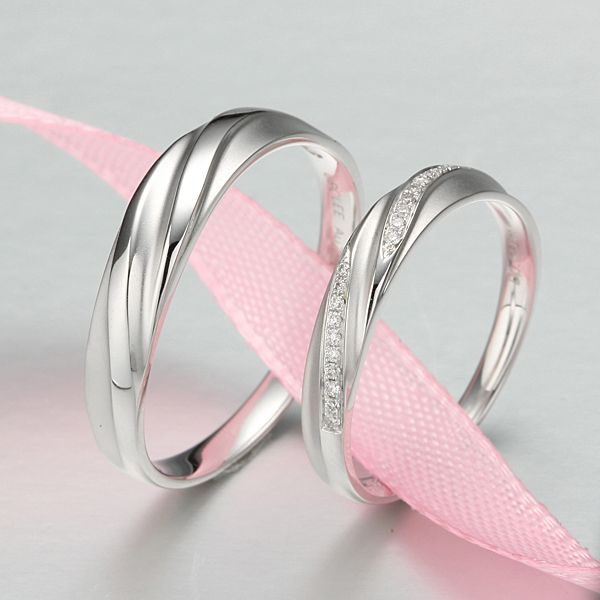 His & Her Wedding Bands - Diamonds set in 18k White Gold - Taobao - <3