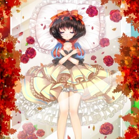 Snow White - disney, maiden, girl, flower, cute, short hair, fairy tales, red rose, kawaii, sleeping, anime girl, sleep, rose, red, gown, nice, floral, movie, white, lay, sweet, pretty, snow white, petals, female, anime, adorable, lovely, ribbon, beautiful, dress, black hair, lying, laying, beauty, lady, bed, apple, pillow