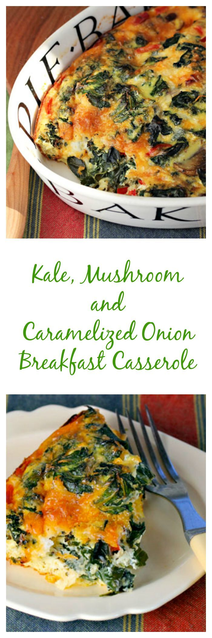 Eat your dark leafy greens first thing in the morning, in this easy kale, mushroom and caramelized onion breakfast casserole from The Perfect Pantry.