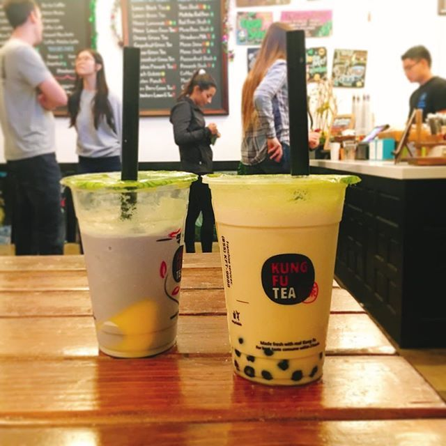Taro slush + egg pudding (left)🍮 Kung Fu Oolong Milk Tea + Boba (right)🥃 - Best taro slush I ever had👍🏾 the homemade egg pudding is egglicious but the combo of slush and pudding is just too sweet for me (but perfect for Brittney) requested no ice no sugar for the oolong milk tea coz the honey boba already gave the drink its appropriate sweetness without covering the refreshing flavor of oolong tea - Kung Fu Tea 📍Address: 4869 Convoy St San Diego CA 92111 United States 🕗 Opening hour…