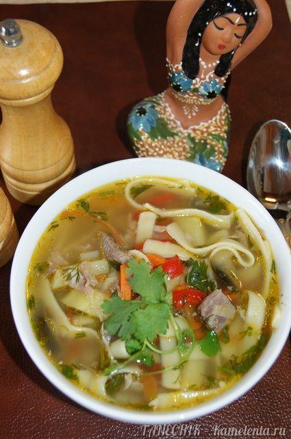 """Однажды, в кафе узбекской кухни, я попробовала этот сытный, вкусный суп. Он мне очень понравился! Теперь, я регулярно готовлю его на обед, так как муж любит густые и сытные супы (второе блюдо я уже не предлагаю), а доченька с удовольствием зовет его """"суп с макаронами"""". В оригинале, отдельно готовится бульон с обжаренным мясом и крупно порезанными овощами, и им заливается отваренная и разложенная по тарелкам лагманная лапша. Но, рецепт я назвала """"Лагман по-нашему"""", а значит..."""