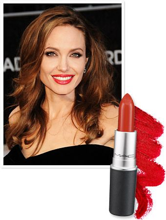 Angelina Jolie's Oscar Lipstick Jolie's right leg made a splash at the 2012 Oscars, but we think her perfect red lipstick really stole the spotlight! Makeup artist Toni Garavaglia lightly applied the star's eye shadow, added a dash of liquid liner, then pulled the entire look together with a generous sweep of MAC's Russian Red lipstick, a true cherry with blue undertones. Head over to maccosmetics.com to pick up a tube of your own for $15.