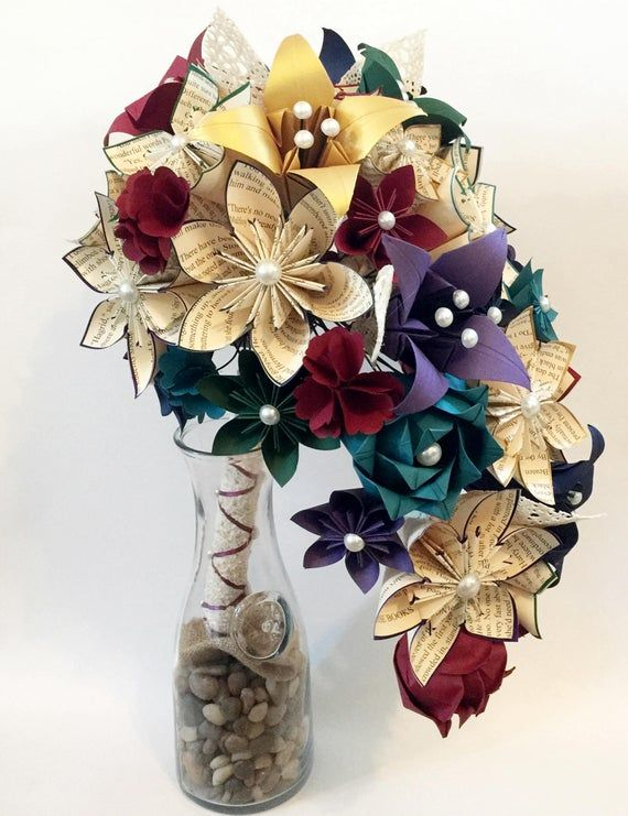 Book Cascading Bouquet Paper Flower Bridal Bouquet One Of A Kind