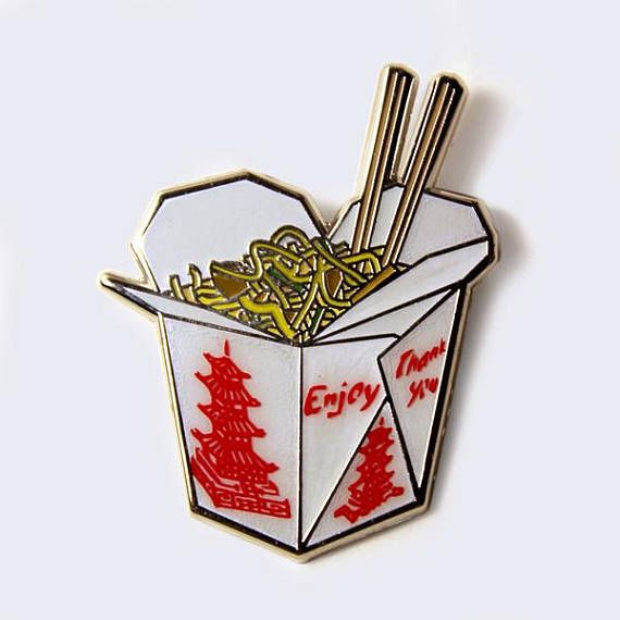 Chinese Food Take Out Box Enamel Pin (Glow-in-the-Dark)  I want to check my fridge right now! Sometimes that Chinese food tastes better the next day!! Classic take out box of noodles. This enamel pin is great for jackets, sweaters, hats, bags and anything else that needs extra flare.  Measures 1 inch.  See this pin at Giant Robot store in West LA.