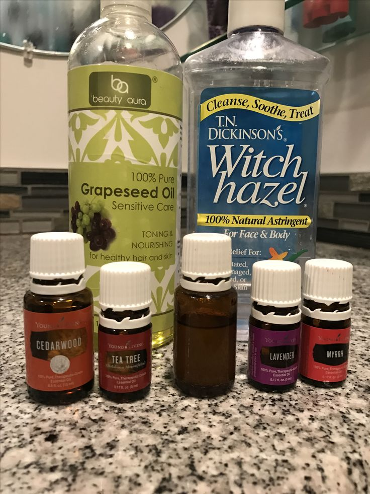 I made a new face toner/astringent tonight. I used what was left in our 15ml tea tree bottle added lavender myrah cedarwood and frankincens. Used about four drops witch hazel and topped off with grape seed oil. I took before pictures I will post after pictures next month!