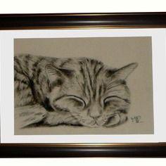 Portrait de chat au fusain :sieste féline