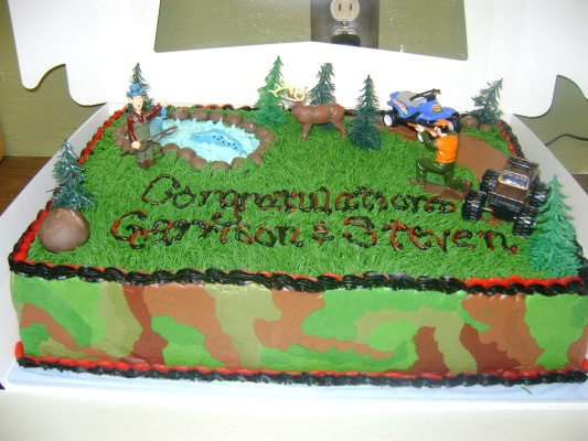 Graduation Cake - Graduation cake for 2 boys who liked fishing and hunting.  School colors were red and black.