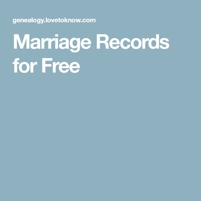 Marriage Records for Free