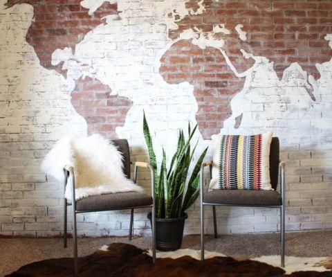 DIY Faux Brick Wall Map-14