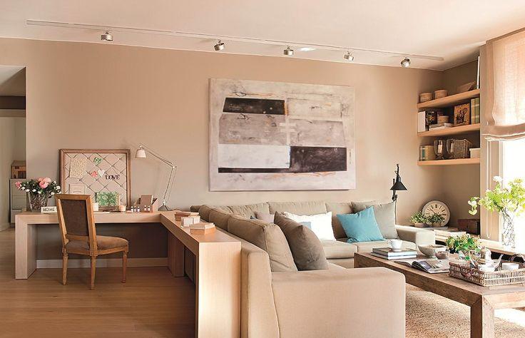 Гостиная и Г-образный консольный стол   #бежевый #гостиная #идея