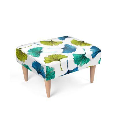 Ginkgo Flush Footstool @contradouk Watercolor ginkgo leaf pattern footstool #design #home #footstoool #decor #fashion #uk