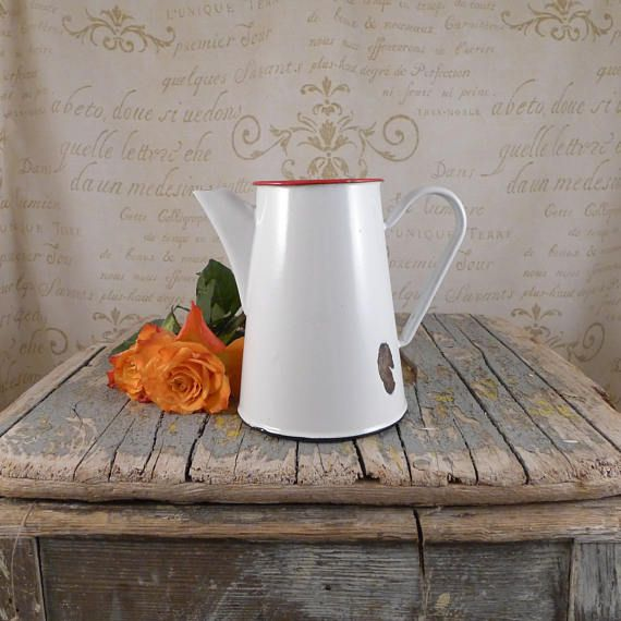 white jug, vintage retro, cup ,brocante, antiques, container , jug , Vintage Kitchen Utensils, Vintage Milk Jugs, Enamel jug
