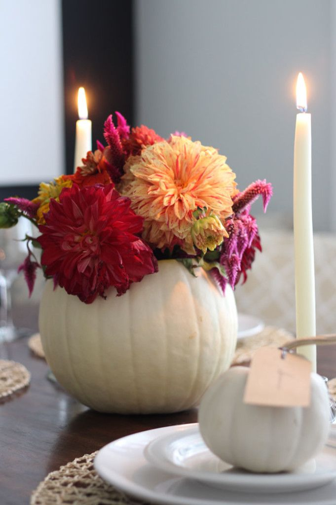 Blogger Stylin' Home Tours: Fall 2015 ~ Pumpkin Centerpiece ~ Fall Decor ~ Fall Home Tour ~ www.simplestylings.com