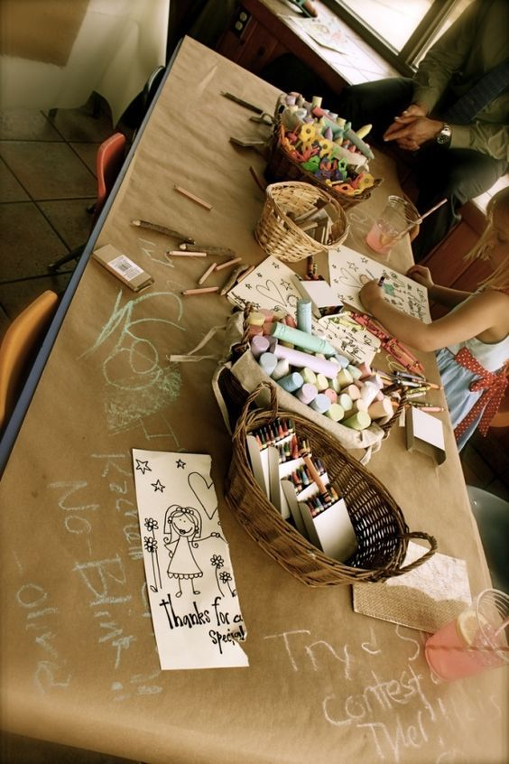 Bride to Be Reading ~ A children's craft table idea for a wedding