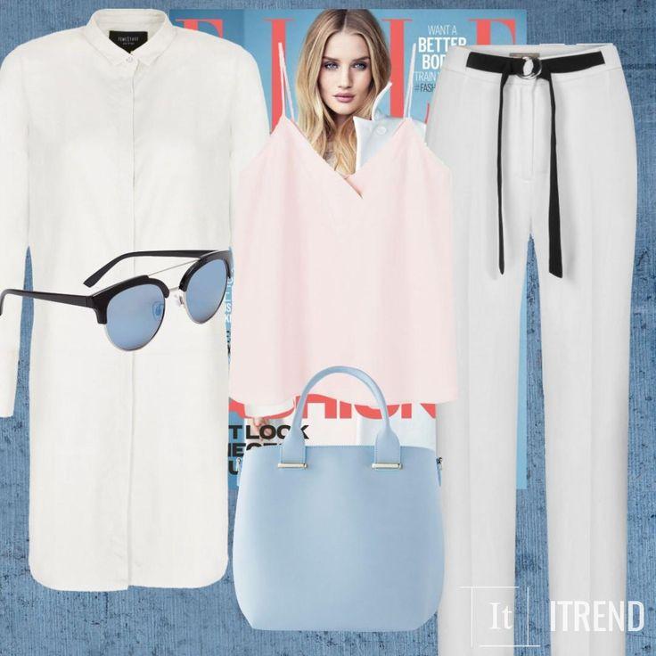 Отличный летний образ для светловолосых девушек: модный в этом сезоне пудрово-розовый и вечно модный - белый. Прячим в шкафы скини и прочие неудобные брюки в обтяжку - врмя свободы: клешь от бедра, свободные струящиеся брюки - это то, что необходимо иметь в гардеробе, что б стильно и комфортно провести это лето. Легкая, свободная рубашка одеваеться в растегнутом виде и вы, фактически, звезда подиумов