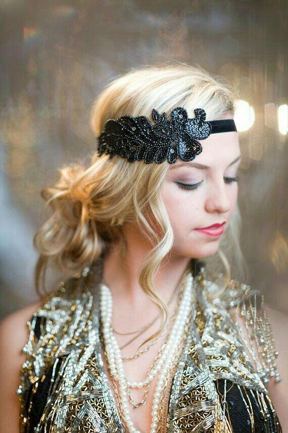 Black Great Gatsby Headband Fler Headpiece By Adorningbeautyco