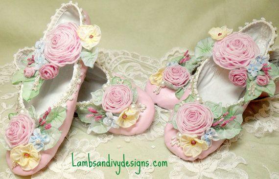 Brides Princess Ballerina Roses Marie Antoinette Ribbonwork  Work Flower Girl Wedding RESERVED via Etsy