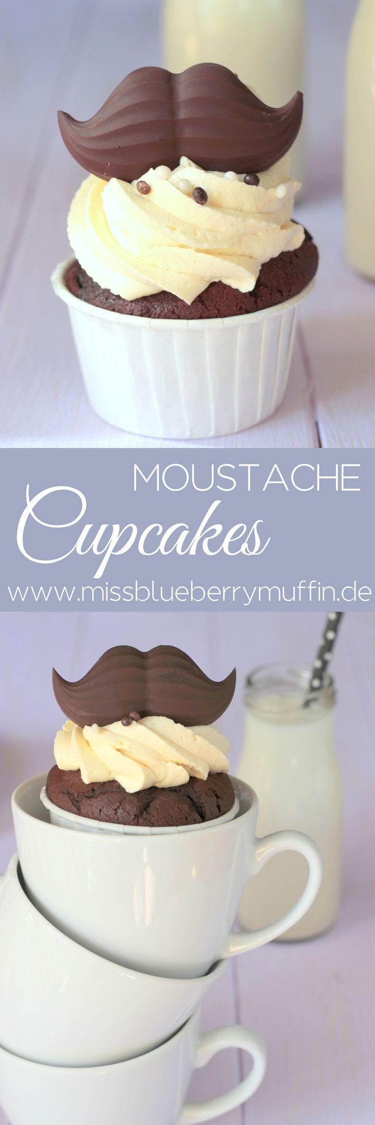 Cupcakes für Männer mit Schoko-Schnurrbart // Moustache Cupakes