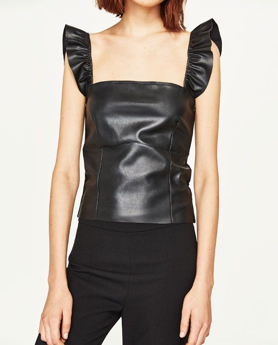Image 2 of SHORT LEATHER-EFFECT TOP from Zara