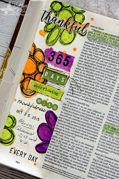 Triple the Scraps: Glory {Art} Scripture Challenge #18, Thankful