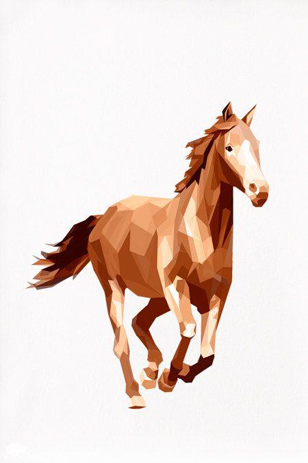 Horse Running Geometric illustration Animal by tinykiwiprints