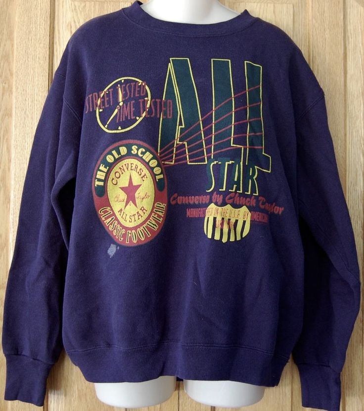 VINTAGE Mens CONVERSE CHUCK TAYLOR ALL STAR Sweatshirt 80s L Blue RARE Sneakers  #Converse