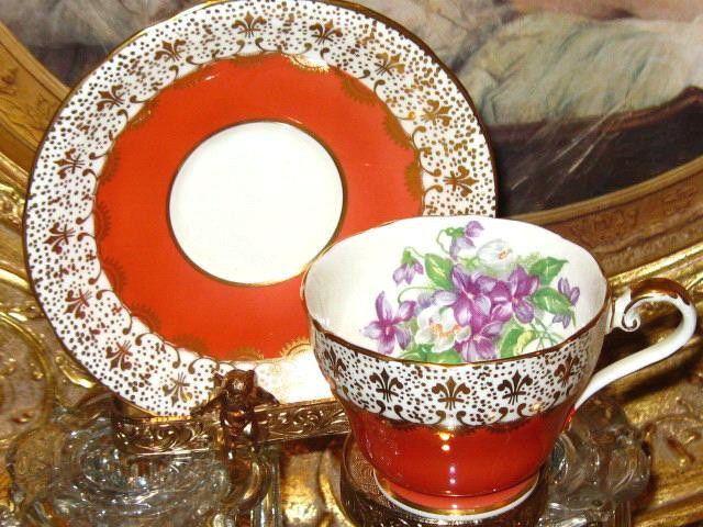 Vintage AYNSLEY GOLD CHINTZ PURPLE VIOLETS ORANGE Tea Cup and Saucer Teacup #AynsleyChinaEngland