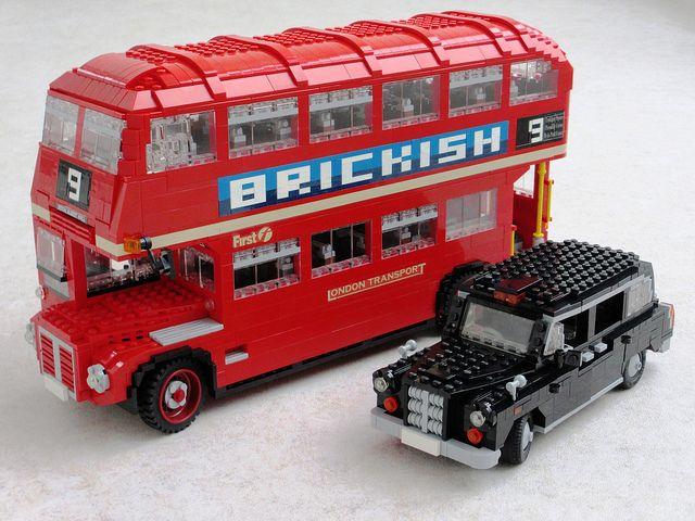 "Lego Art ~ ""Lego Routemaster and Lego London Black Taxi"""