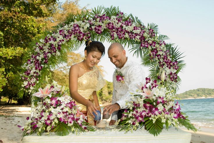 Sand ceremony during beach wedding in Phuket.  http://www.wedding-phuket.com