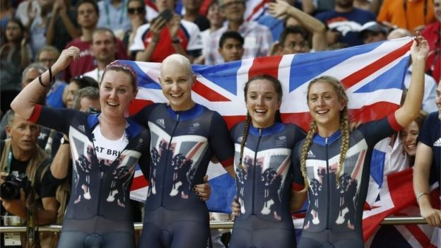 Britain's Katie Archibald, Joanna Rowsell-Shand, Elinor Barker and Laura Trott…