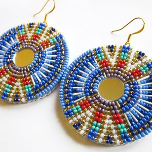 """Everything in Its Right Place"" earrings by Andrea Preston (Navajo). Native American artist. #nativeamerican #nativeamericanfashion"